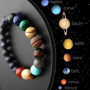 Unisex náramek z přírodních kamenů Sluneční soustava