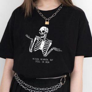 Dámské originální tričko s kostlivcem