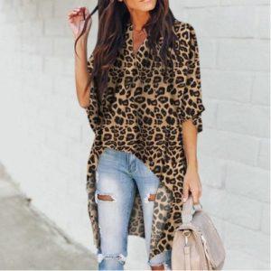 Dámská dlouhá halenka s leopardím vzorem