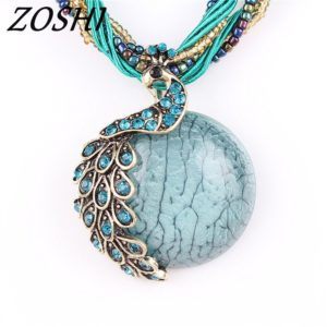 Dámský náhrdelník z korálků s pávem