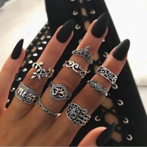 Dámský set stylových prstýnků - 9 ks