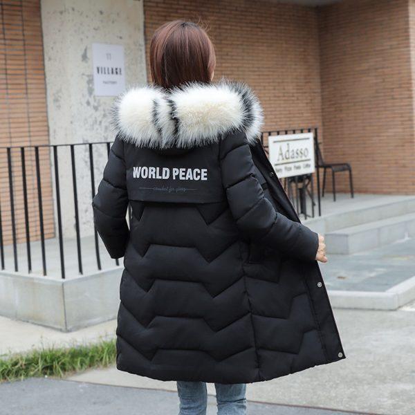 Dámský teplý kabát Lamar s kapucí a barevným kožíškem