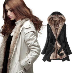 Dámský zimní plus size kabát Alexander s kožíškem