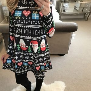 Dámské stylové šaty s vánočním motivem