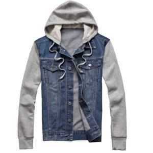 Denim džínová bunda s kapucí
