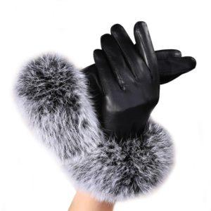 Dámské kožené rukavice s kožíškem Lucy