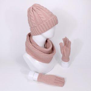 Dámská zimní sada čepice a šála s rukavicemi