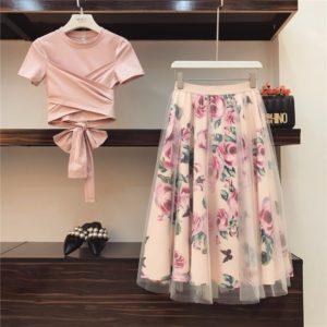 Women Irregular T Shirt+Mesh Skirts Suits Bowknot Solid Tops Vintage Floral Skirt Sets Elegant Woman Two Piece Set
