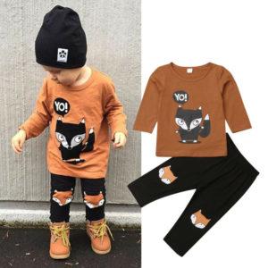 Dětský set tričko s dlouhým rukávem Liška