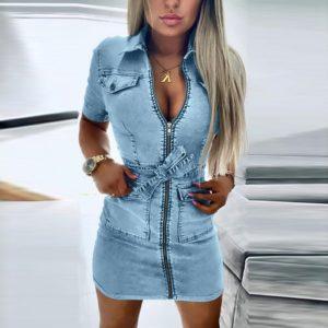 Sexy V Neck Denim Bodycon Dress Women Zipper Short Sleeve Faux Jean Plus Size Dress Summer Club Wear Dresses Vestidos