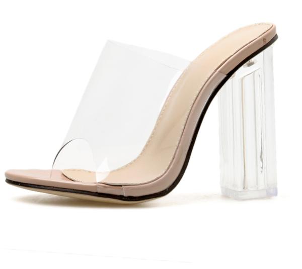 Dámské letní boty s průhledným podpatkem