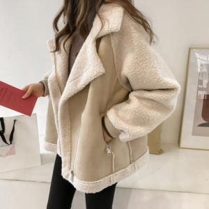 Dámský luxusní plyšový koženkový kabát Emory