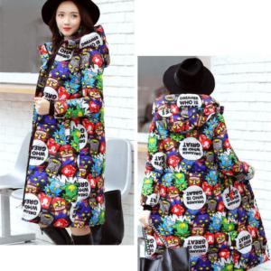 Dlouhý zimní kabát s kapucí Adele - různé vzory