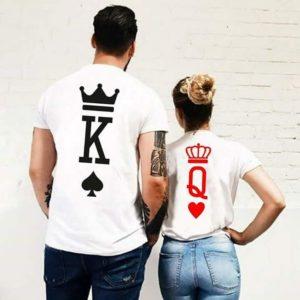 Luxusní trička s krátkým rukávem KING a QUEEN pro páry