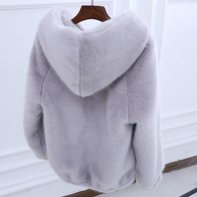 Dámská chlupatá bunda na zip s kapucí