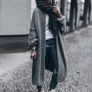 Dámský cool pletený dlouhý zimní svetr