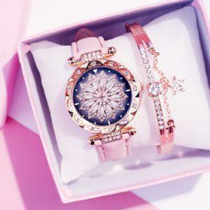 Luxusní dámské hodinky s třpytky a náramkem