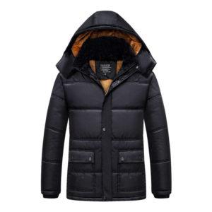 Pánská zateplená zimní bunda s kožíškem a kapucí