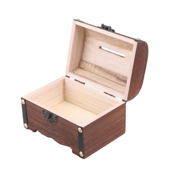 Pokladnička / Kasička dřevěná truhla