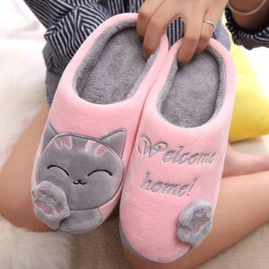 Dámské domácí pantofle s kočičkou
