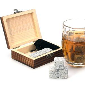 Žulové kostky na chlazení nápojů v dárkové dřevěné krabičce