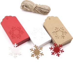 Papírové vánoční jmenovky s vločkou