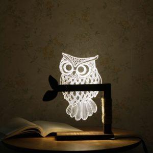 3D Stolní lampa dřevěná sova