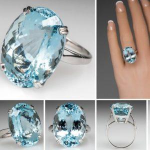 Luxusní dámský prsten s akvamarínem