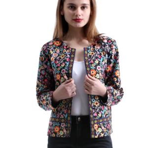 Podzimní dámská módní bunda s květinovým vzorem