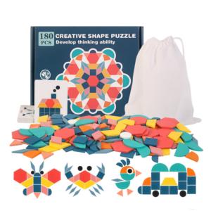 Dětské dřevěné 3D vzdělávací puzzle 180 kusů