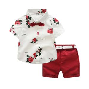 Chlapecká trendy letní souprava - polokošile s motýlkem a kraťasy