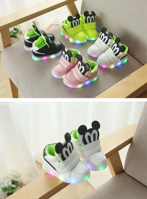 Stylové svítící dětské boty Mickey Mouse