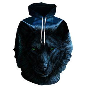 Pánská mikina s jedinečným 3D potiskem černého vlka