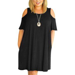 Dámské volné nadměrné šaty s odhalenými rameny