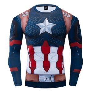 Kompresní rychleschnoucí cosplay tričko - Kapitán Amerika
