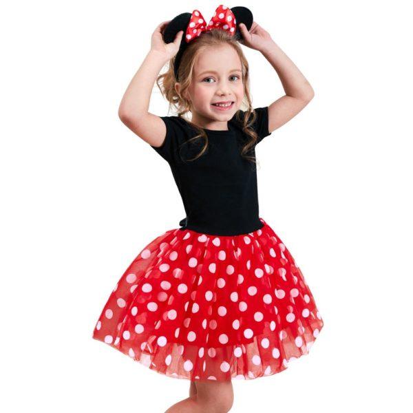Dívčí roztomilé šaty s puntíky a čelenkou