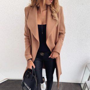 Dámský módní kabát s límcem