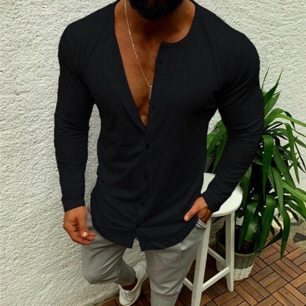 Pánská volná košile s knoflíky
