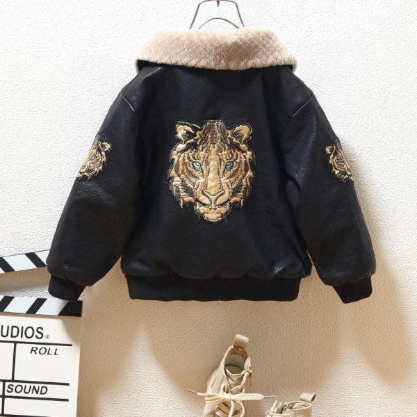 Chlapecká koženková módní bunda s límcem