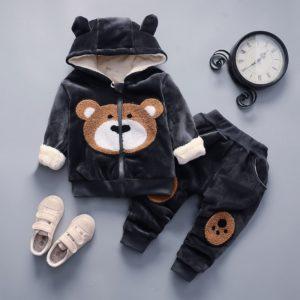 Dětská teplá tepláková souprava s medvíckem