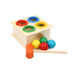 Dětská vzdělávací dřevěná zatloukačka s míčky