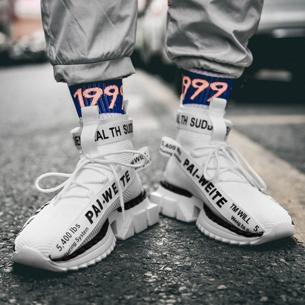 Módní vysoké ponožkové prodyšné pánské boty Zapatos 2020