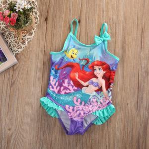 Dívčí roztomilé jednodílné plavky s volánky Ariel