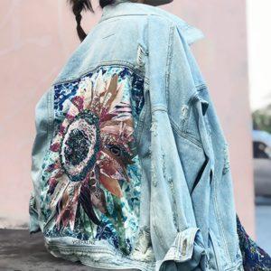 Dámská džínová bunda se zdobením na zádech ve tvaru květiny Rebecca