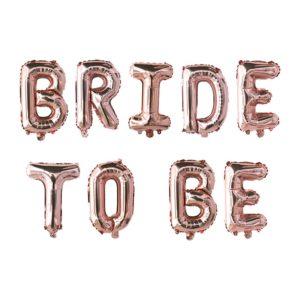 Rose Gold nápisy z nafukovacích balónků na rozlučku se svobodou