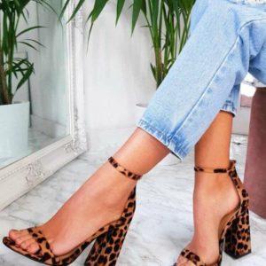Dámské sexy leopardí semišové sandálky na vysokém širokém podpatku