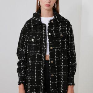 Dámská kostkovaná bunda s knoflíky