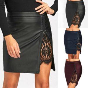 Dámská kožená sukně s rozparkem na levé straně