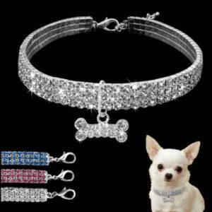 Obojek pro malé a střední psy s kamínky a přívěskem kostičky