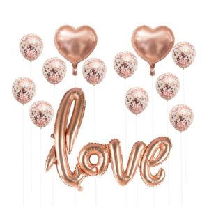 Rose Gold nafukovací sada balónků na svatbu